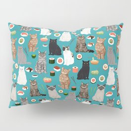 Cat Sushi pattern by pet friendly cute cat gifts for pet lovers foodies kitchen Pillow Sham