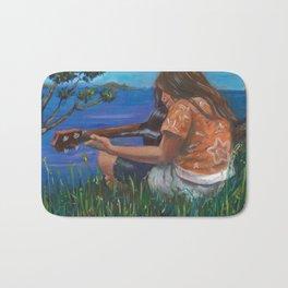 Playing ukulele Bath Mat
