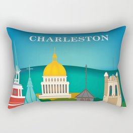 Charleston, West Virginia - Skyline Illustration by Loose Petals Rectangular Pillow