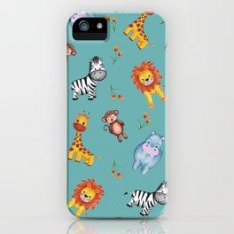Teal Safari Cuties iPhone Case