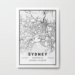 Sydney Light City Map Metal Print