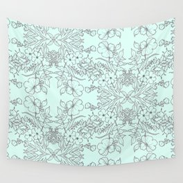 Dotted Floral Scroll in Mint and Grey Wall Tapestry