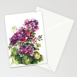 Watercolor geranium red pink flowers Stationery Cards