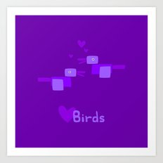 Love Birds-Purple Art Print