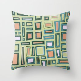 Mostly Square - Green Throw Pillow