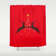 Christmas with reindeer - Red Shower Curtain