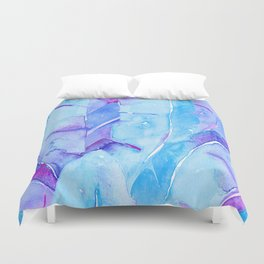 Banana Tree Leaves | Purple & Cyan Blue Duvet Cover