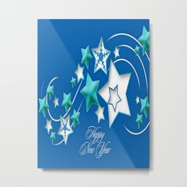 Jade and Blue Happy New Year Shooting Stars  Metal Print