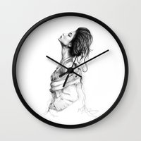 lady gaga Wall Clocks featuring Pretty Lady Illustration by Olechka