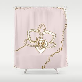 One line Orchid in blush pink and gold Shower Curtain