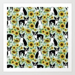 Boston Terrier sunflower floral dog breed pet portrait pet friendly pattern dogs gifts Art Print