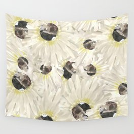 Citrine White Floral Wall Tapestry