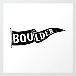 Boulder Colorado Pennant Flag // University College Dorm Room Graphic Design Decor Black & White Art Print