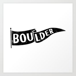 Boulder Colorado Pennant Flag // University College Dorm Room Graphic Design Decor Black & White Kunstdrucke