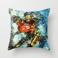 bioshock Throw Pillows featuring Bioshock Big Sister by Joe Misrasi