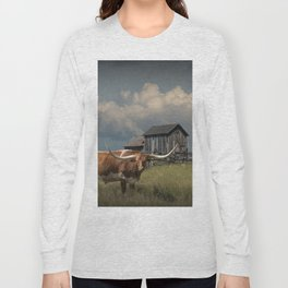 Longhorn Steer in a Prairie pasture by 1880 Town with Windmill and Old Gray Wooden Barn Long Sleeve T-shirt