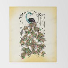 Vibrant Jungle Peacock Throw Blanket