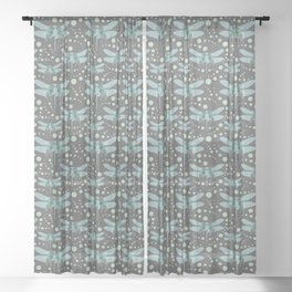 dragonflies with grey pattern 1 Sheer Curtain