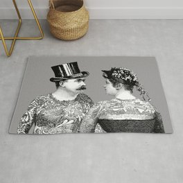 Tattooed Victorian Lovers | Tattooed Couple | Vintage Tattoos | Victorian Tattoos | Victorian Gothic Rug