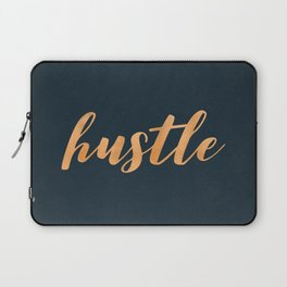 Hustle Text Copper Bronze Gold and Navy Laptop Sleeve
