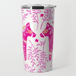 Swedish Dala Horses – Pink Palette Travel Mug