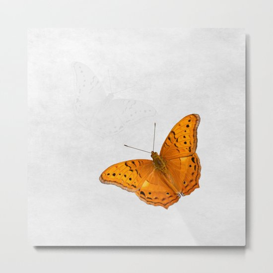 Butterfly and ghost on textured white Metal Print