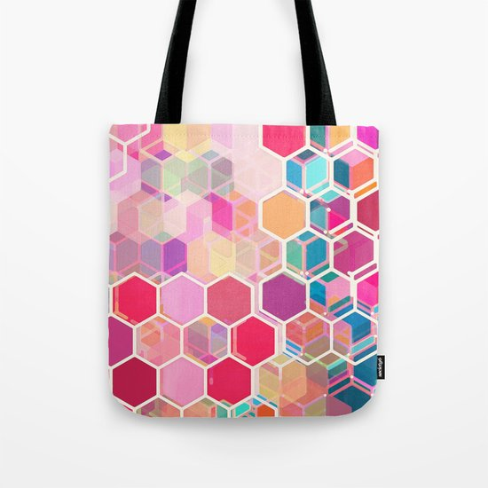 Rainbow Honeycomb - colorful hexagon pattern Tote Bag