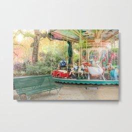 Charming Paris Carousel Metal Print