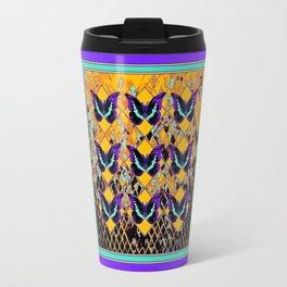 Amethyst Purple Butterflies Gold-Black Abstract Design Travel Mug