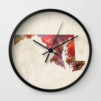 maryland Wall Clocks featuring Maryland by MapMapMaps.Watercolors