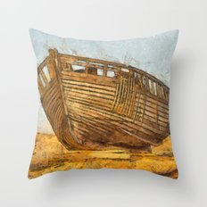 Painted Boat Dungeness Throw Pillow