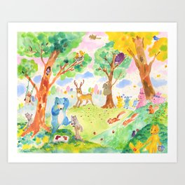 Merry forest Art Print