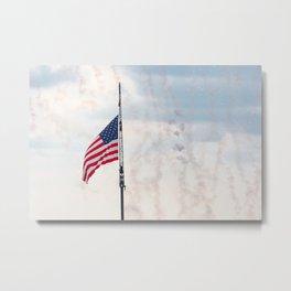 American flag with smoke Metal Print