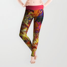 V15 Lovely Traditional Moroccan Pattern Colored Design Waves. Leggings