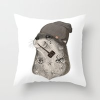 otter Throw Pillows featuring OTTER by Thiago Bianchini