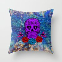 sugar skull Throw Pillows featuring Sugar Skull by haroulita