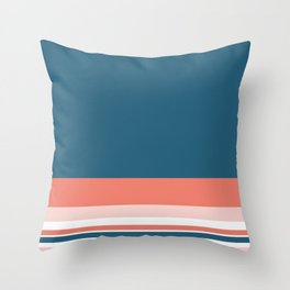 Lovely Colours Minimalist Color Block Stripe Design in Teal Blue, Coral Pink, Blush, and White Throw Pillow