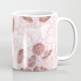 Chic Blush Pink White Rose Gold Butterfly Floral Coffee Mug