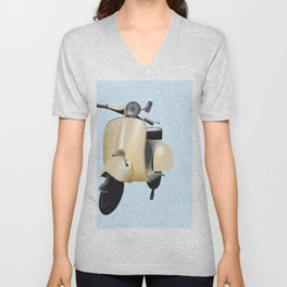 Three Vespa scooters in the colors of the Italian flag Unisex V-Neck