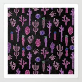 Cactus Pattern On Chalkboard Art Print