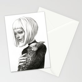 Black Raven in a White Raven's Mask Stationery Cards