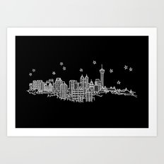 San Antonio, Texas City Skyline Art Print
