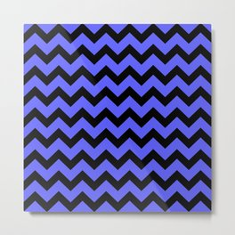 Chevron (Black & Blue Pattern) Metal Print