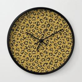 Gold glitter Leopard skin print Wall Clock