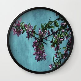 Pink Over Turquoise by CheyAnne Sexton Wall Clock