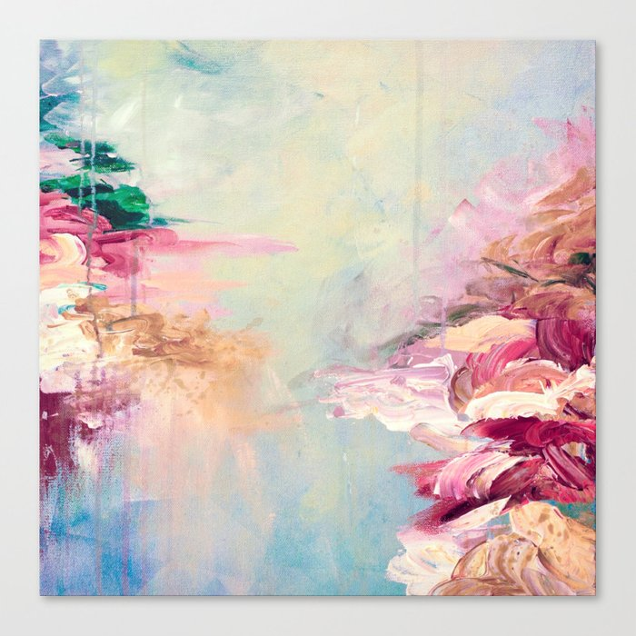 WINTER DREAMLAND 1 Colorful Pastel Aqua Marsala Burgundy Cream Nature Sea Abstract Acrylic Painting  Canvas Print