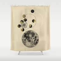 stanley kubrick Shower Curtains featuring Moon by J Arell