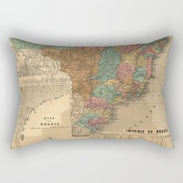 Imperial Atlas of Brazil (1868) - 04 Rivers and Mountains of Brazil Rectangular Pillow