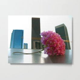 Flower in the LA Skyline Metal Print