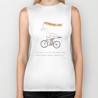 bicycles Biker Tanks featuring seagulls on bicycles by Marc Johns
